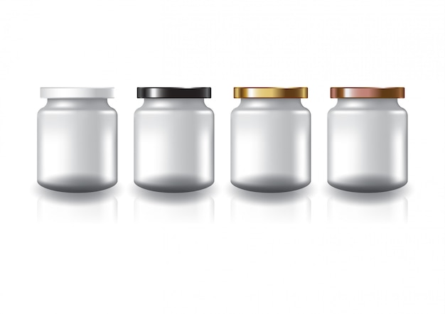 Tarro redondo transparente en blanco con tapa plana de cuatro colores.