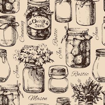 Tarro rústico, de albañil y de conservas. boceto dibujado a mano vintage de patrones sin fisuras. ilustración vectorial