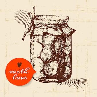 Tarro rústico, de albañil y de conservas. diseño de boceto dibujado a mano vintage. ilustración vectorial