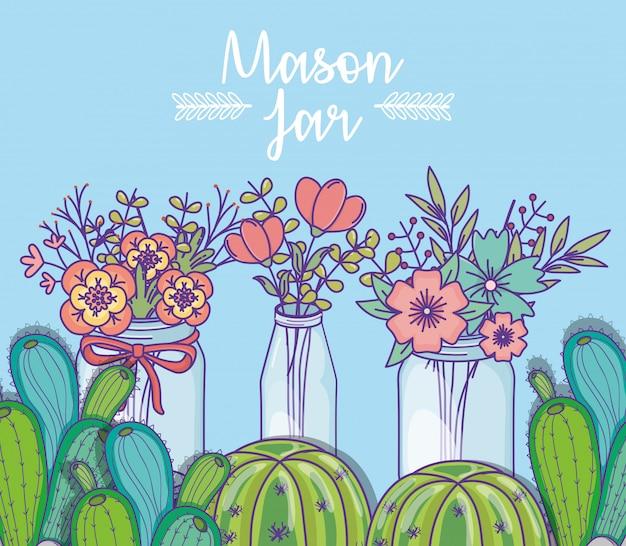 Tarros de albañil con flores y adornos de cactus