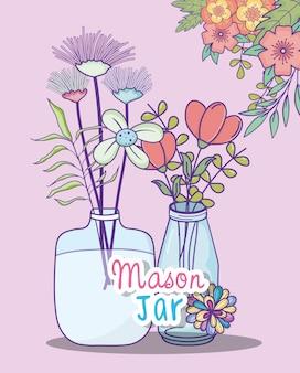 Tarros de masón flores ramas follaje decoración