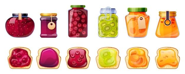 Tarros de mermelada y tostadas de pan envases de vidrio con gelatina de frutas de melocotón, albaricoque, espino amarillo, cereza y kiwi o mermelada de gelatina colorida de fresa en paquetes, conjunto de dibujos animados de tubos de conserva
