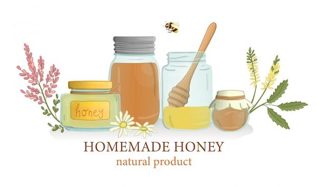 Tarros de miel con flores silvestres y abejas