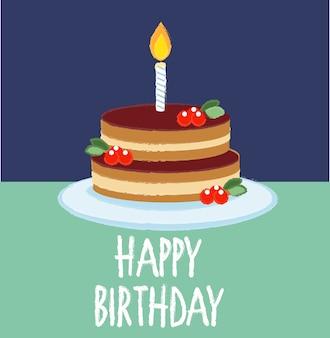 Tarta de chocolate para tarjeta de felicitación de cumpleaños.