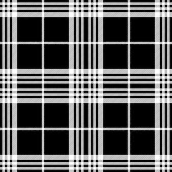 Tartán blanco negro oscuro de patrones sin fisuras simle