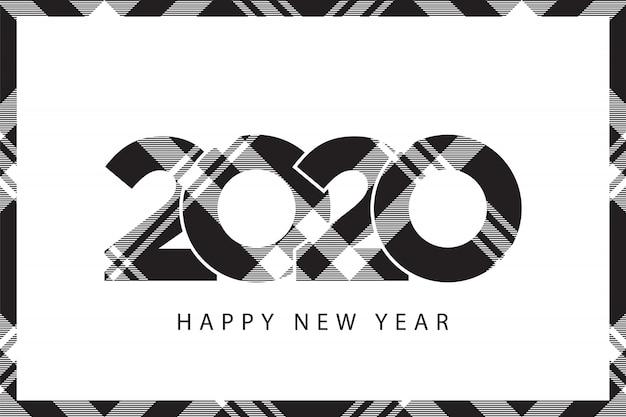 Tartán a cuadros 2020 feliz año nuevo marco de cuadros blanco y negro
