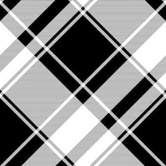 Tartán negro blanco de patrones sin fisuras