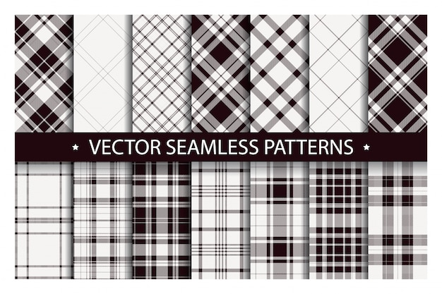 Tartan set patrón cuadros sin costura