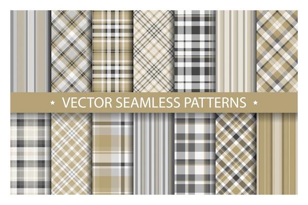 Tartan set patrón cuadros sin costuras. textura de tela geométrica.