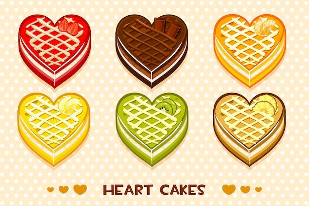 Tartas de frutas y chocolate en forma de corazón