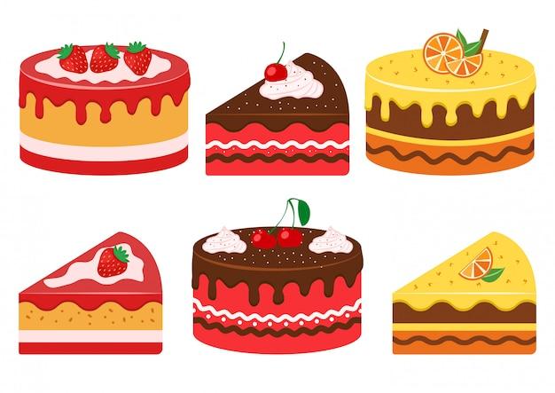 Tartas de frutas. fresa, cereza y cítricos. ilustración