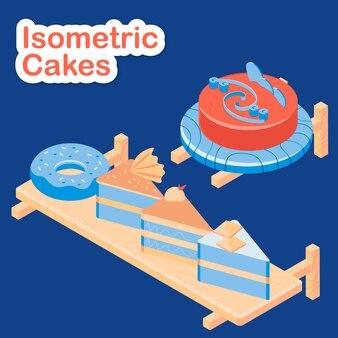 Tartas isométricas en mesa de madera