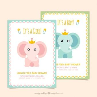 Tasrjetas de bienvenida de bebé de elefante adorable