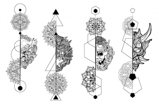 Tattoo art giant set dibujo a mano y boceto en blanco y negro