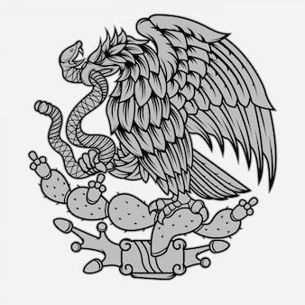 Tatuaje de águila y serpiente mexicana.