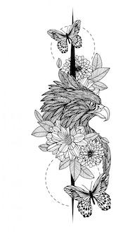 Tatuaje arte águila dibujo a mano