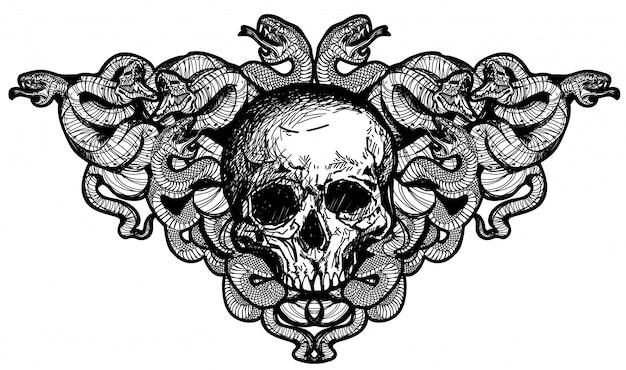 Tatuaje arte calavera y serpientes dibujo a mano.