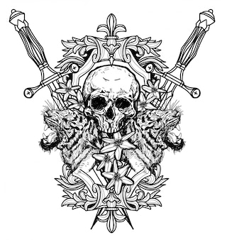 Tatuaje arte cráneo dibujo a mano en blanco y negro