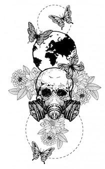 Tatuaje arte cráneo flores dibujo a mano en blanco y negro