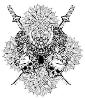 Tatuaje arte dargon dibujo y dibujo a mano en blanco y negro.