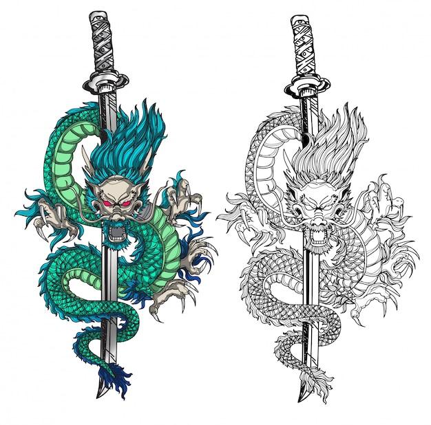 Tatuaje arte dargon dibujo a mano en blanco y negro y colores de boceto