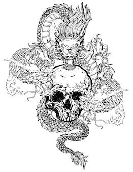 Tatuaje arte dargon dibujo a mano en blanco y negro