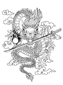 Tatuaje arte dargon dibujo a mano y boceto en blanco y negro