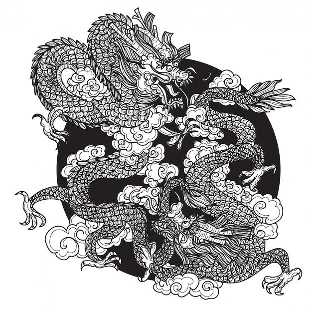 Tatuaje arte dargon dibujo a mano boceto en blanco y negro