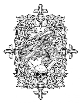 Tatuaje arte dargon mano bosquejo blanco y negro