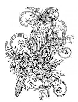 Tatuaje arte dibujo a mano pájaro y bosquejo blanco y negro aislado
