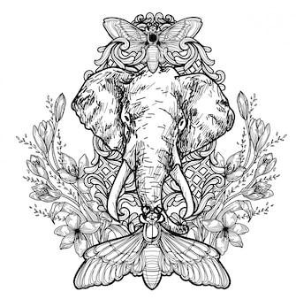 Tatuaje arte elefante dibujo a mano en blanco y negro