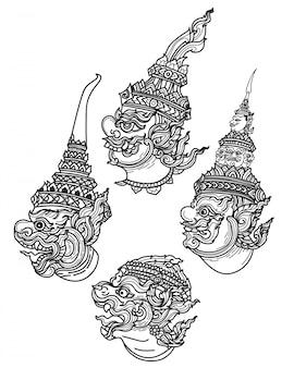 Tatuaje arte gigante conjunto mano dibujo y bosquejo blanco y negro.