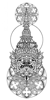 Tatuaje arte gigante dibujo a mano y boceto en blanco y negro.