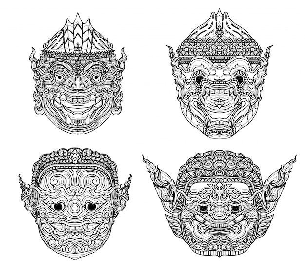 Tatuaje arte gigante tailandés dibujo a mano y boceto en blanco y negro