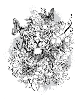 Tatuaje arte león dibujo a mano en blanco y negro