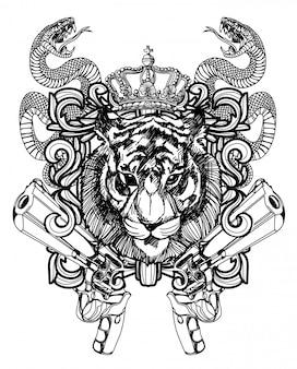 Tatuaje arte león y pistola dibujo a mano en blanco y negro