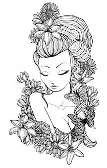 Tatuaje arte mujer y flor dibujo a mano.