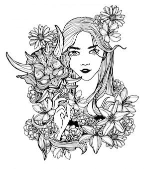 Tatuaje arte mujer máscara y flor dibujo a mano