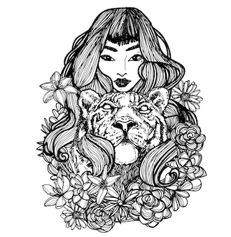 Tatuaje arte mujeres tigre y flor dibujo a mano