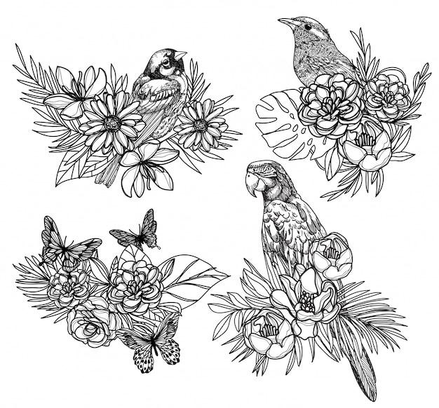 Tatuaje arte pájaro dibujo a mano y boceto en blanco y negro