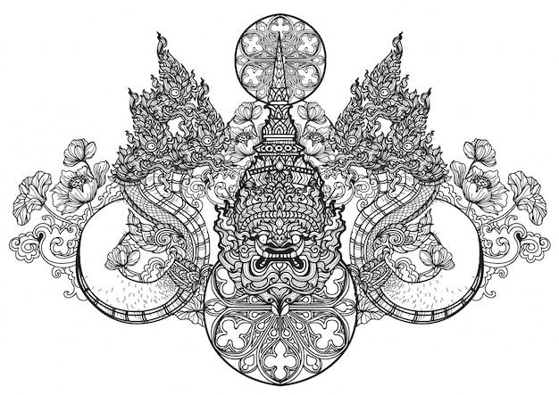 Tatuaje arte serpiente tailandesa dibujo a mano dibujo