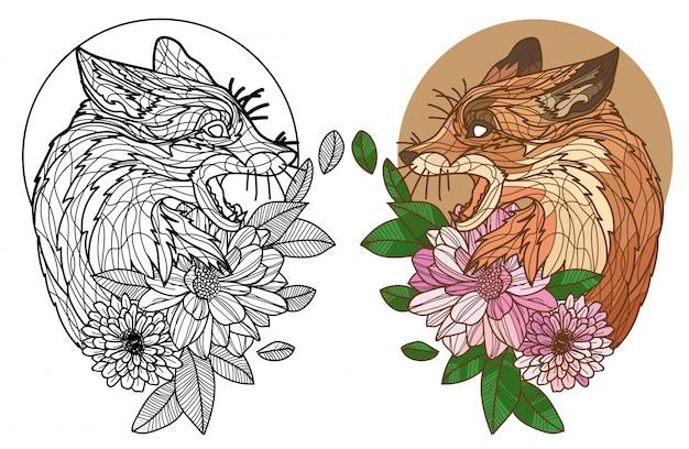 Tatuaje arte zorro y flores dibujo a mano y boceto en blanco y negro y color