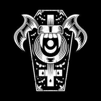 Tatuaje de ataúd de vampiro aislado en negro
