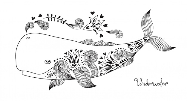 Tatuaje de ballena feliz.