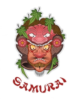 Tatuaje de un buen samurai en un casco