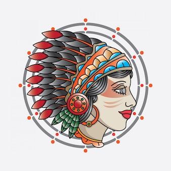 Tatuaje de cabeza de niña india tradicional