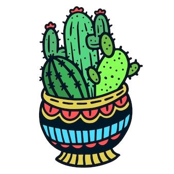 Tatuaje de cactus en una olla old school