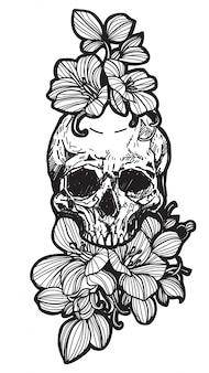 Tatuaje calavera y flor