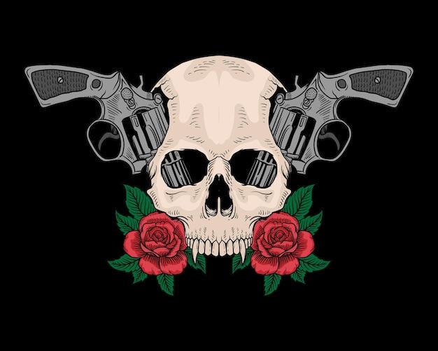 Tatuaje calavera y rosas de pistola aisladas