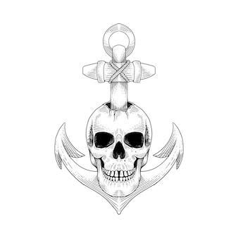 Tatuaje y camiseta diseño calavera ancla dibujado a mano ilustración